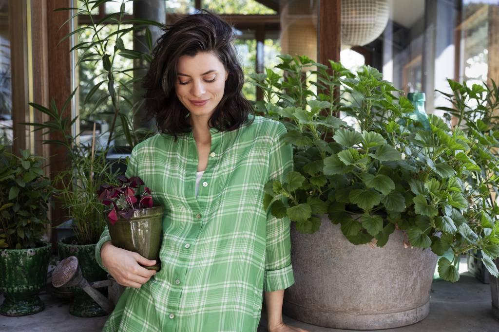 SYLVER Check Blouse Long Sleeve - Grasgroen