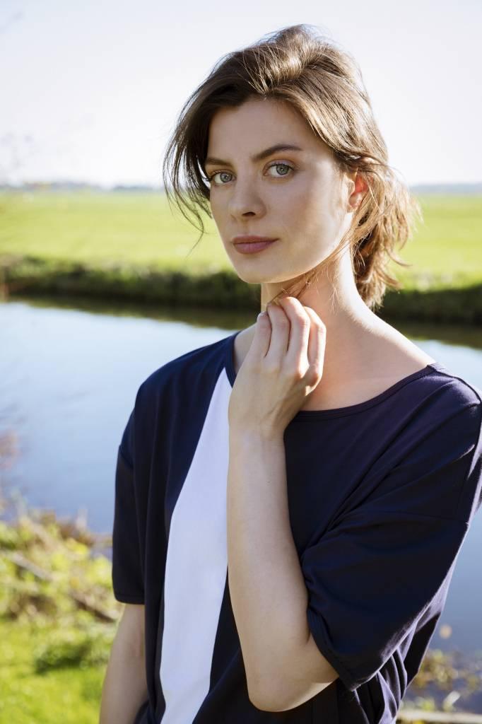 SYLVER Cotton Elasthane Dress Long - Dark Blue