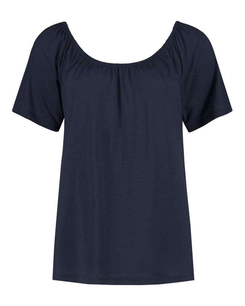 """SYLVER Summer Lyocell Shirt """"off shoulder"""" - Dark Blue"""