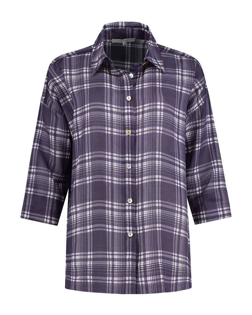 SYLVER Check Blouse - Dark Purple