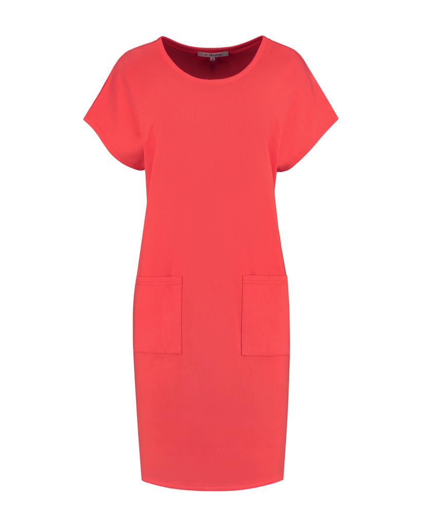 SYLVER Mercerised Cotton Dress - Koraalrood
