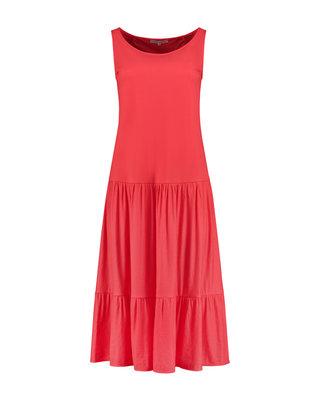 SYLVER Crêpe Stretch Dress - Koraalrood