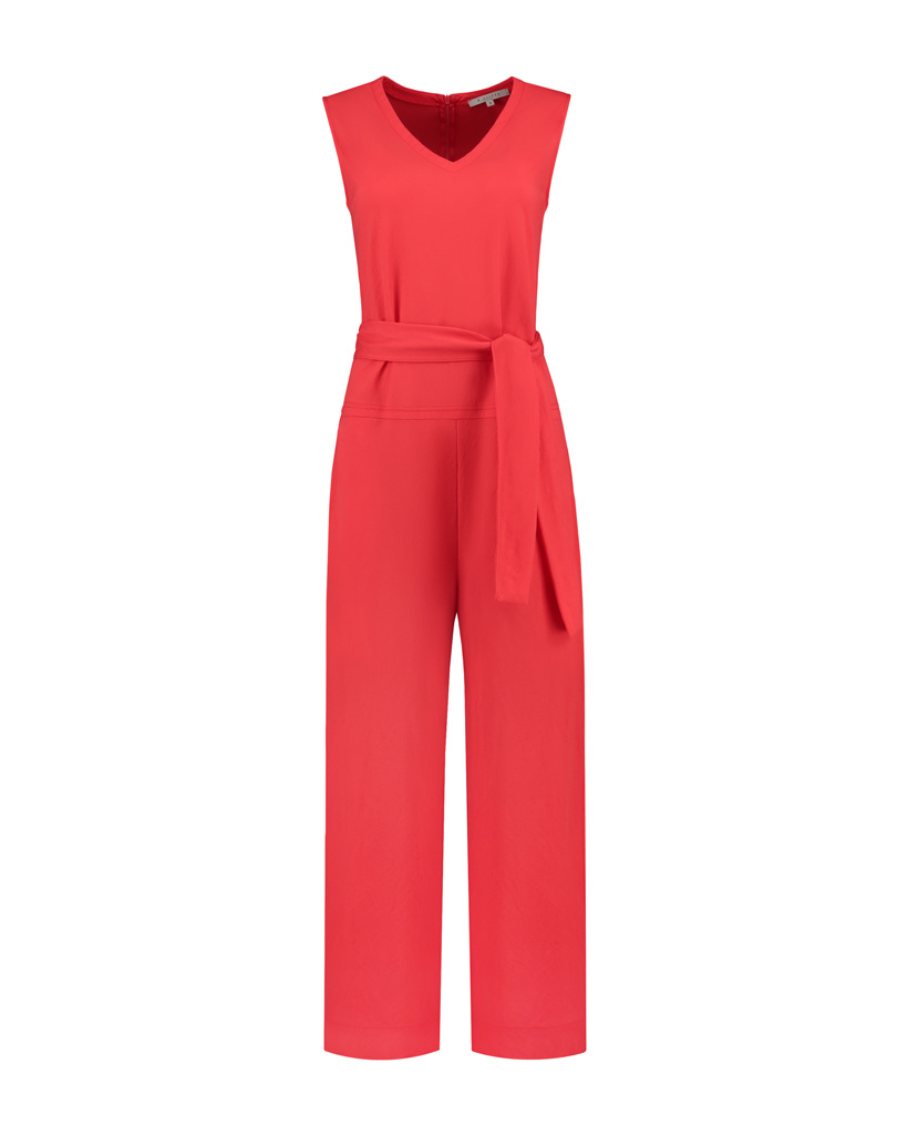 SYLVER Crêpe Stretch Jumpsuit - Koraalrood