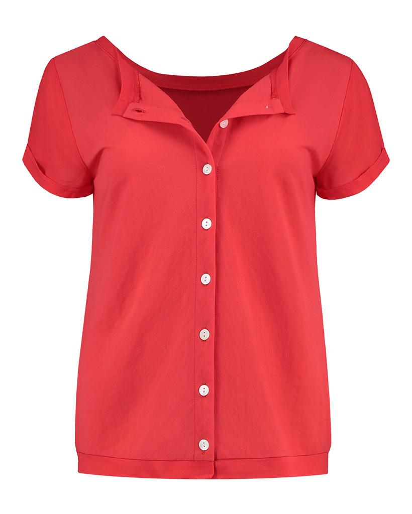 SYLVER Crêpe Stretch Shirt - Koraalrood