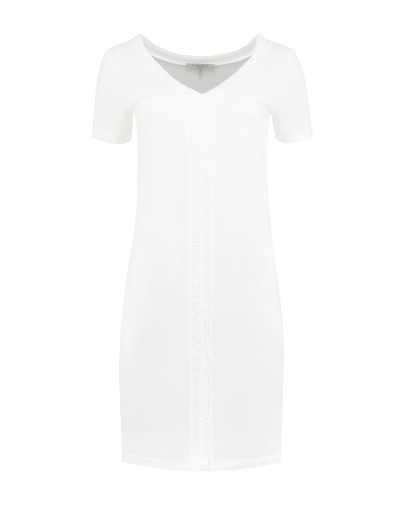 SYLVER Crêpe Stretch Dress Ruffle - Gebroken Wit