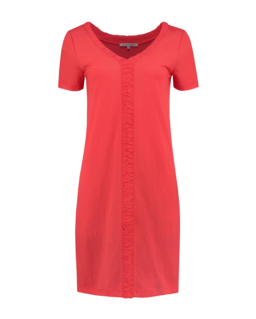 SYLVER Crêpe Stretch Dress Ruffle - Koraalrood