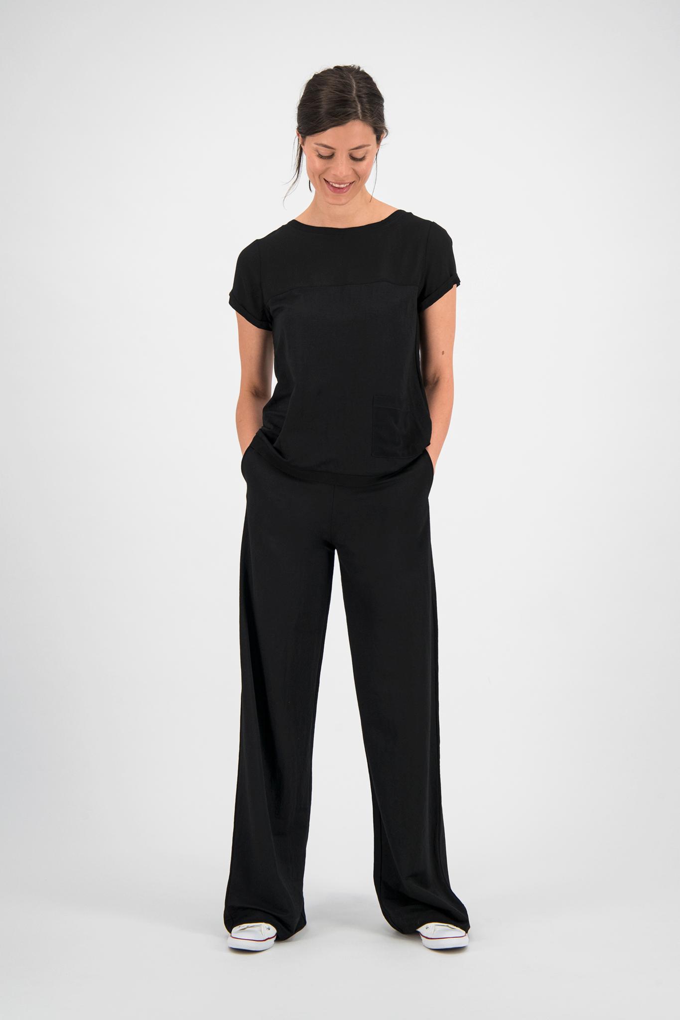 SYLVER Crêpe Stretch Shirt - Zwart