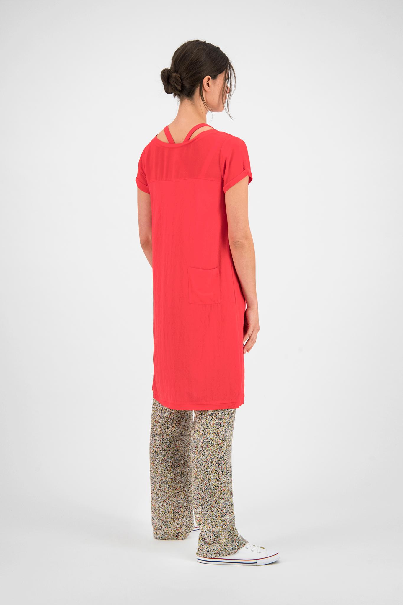 SYLVER Crêpe Stretch Dress-Blouse - Coral