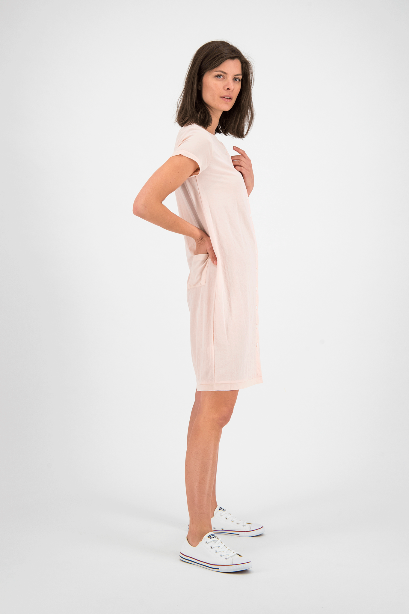 SYLVER Crêpe Stretch Dress-Blouse - Zalmroze