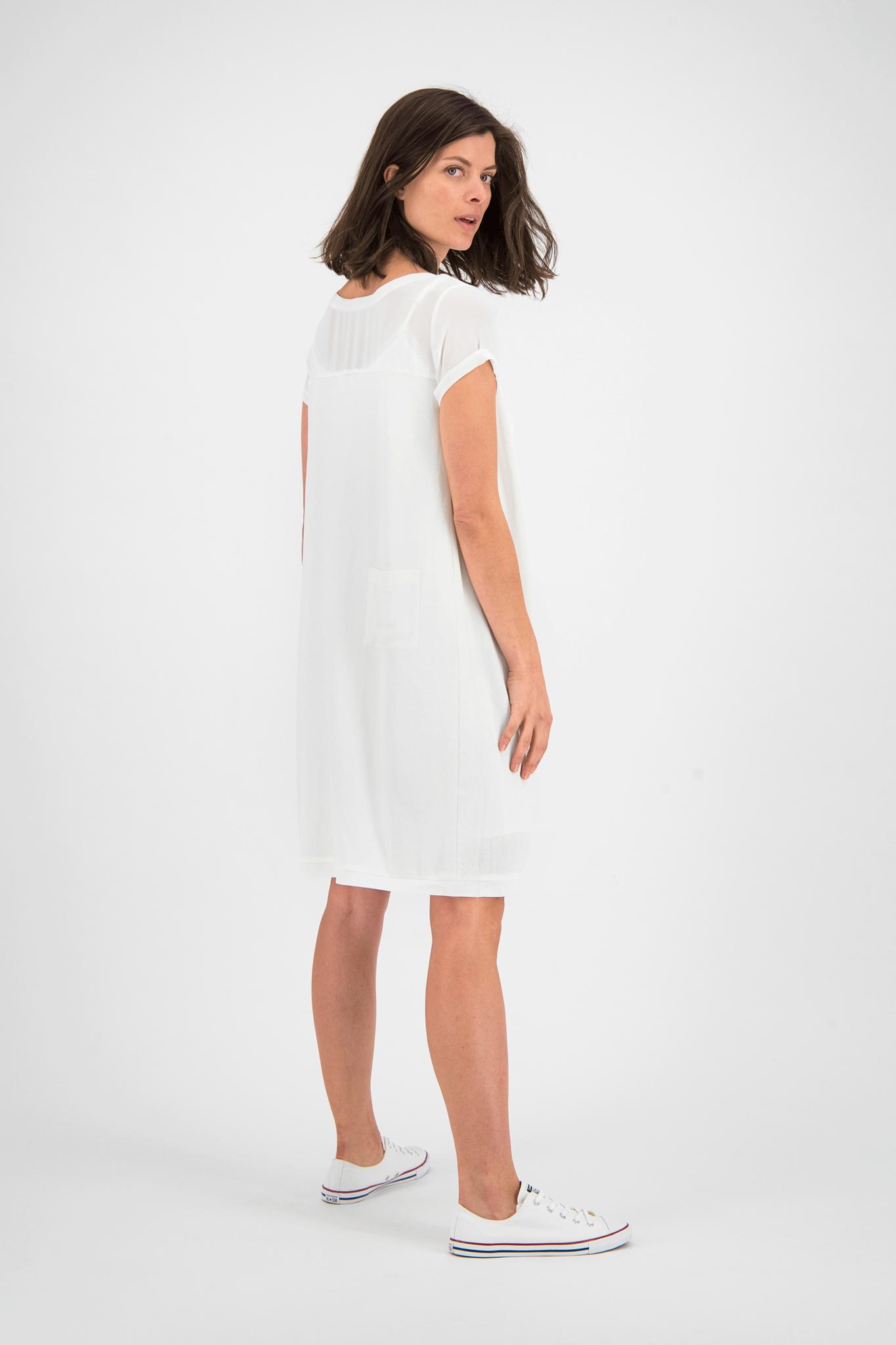 SYLVER Crêpe Stretch Dress-Blouse - Gebroken Wit