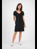 SYLVER Crêpe Stretch Dress Ruffle - Zwart
