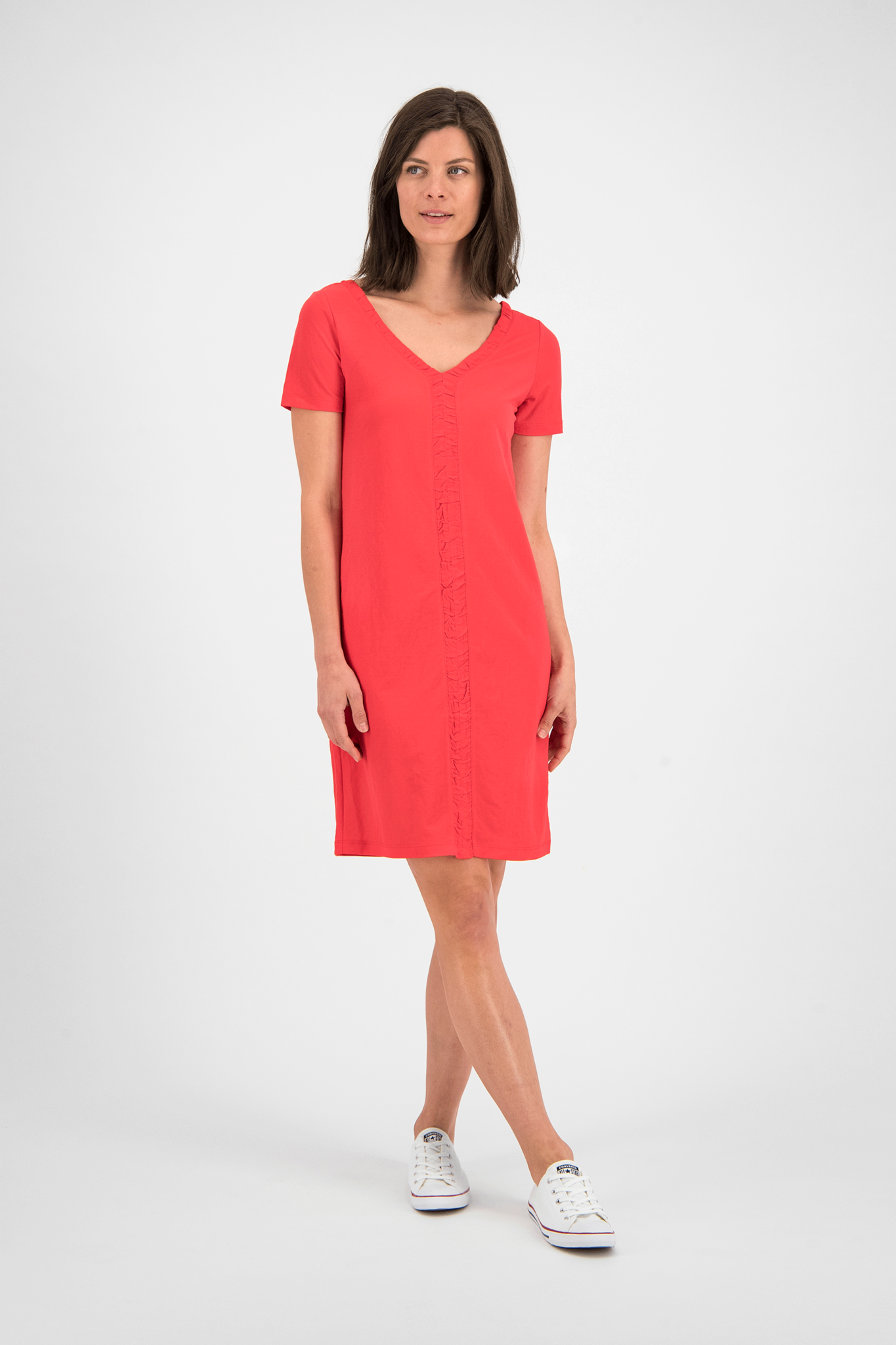 SYLVER Crêpe Stretch Dress Ruffle - Coral