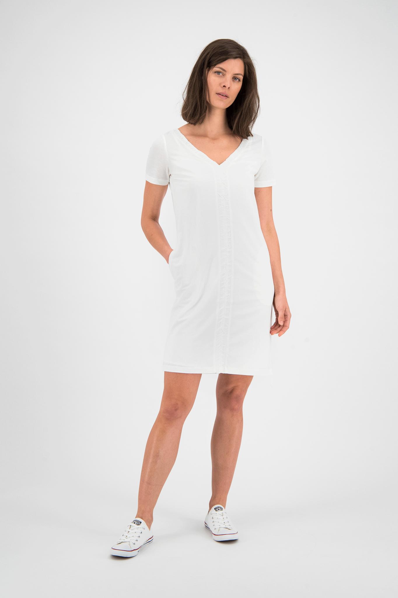 SYLVER Crêpe Stretch Dress Ruffle - Off white