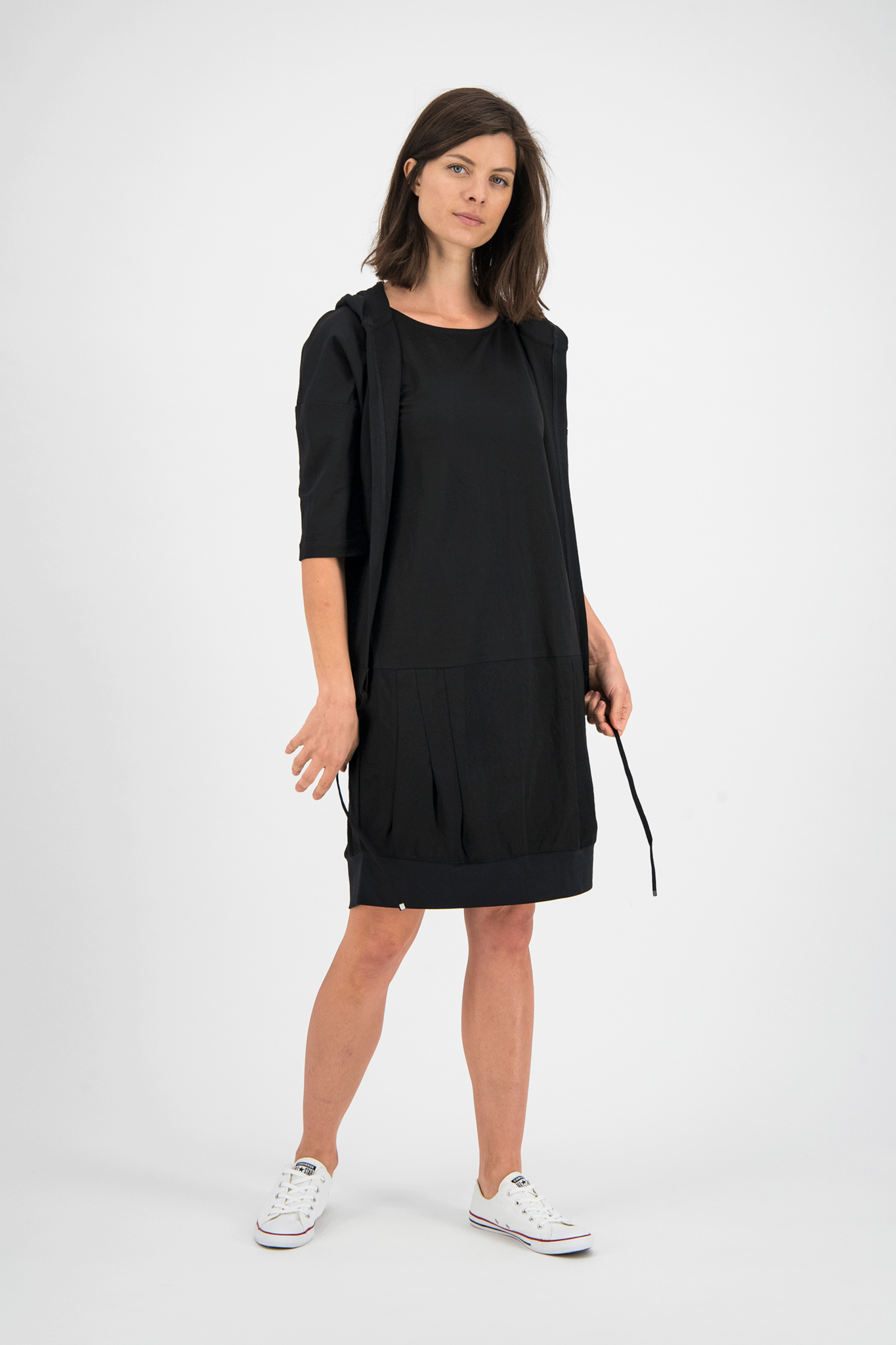 SYLVER Crêpe Stretch Dress Balloon - Zwart