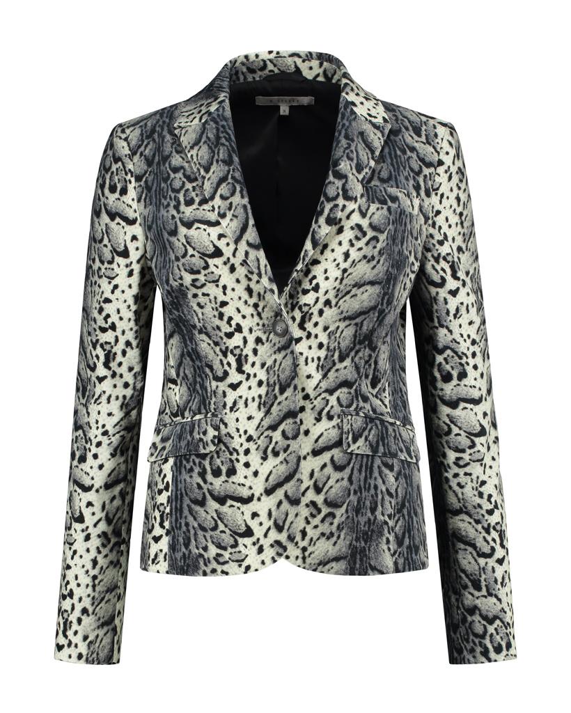 SYLVER Leopard Blazer - Light Grey