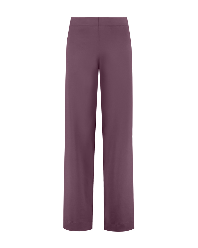 SYLVER Silky Jersey Trousers Flared - Choco Wine
