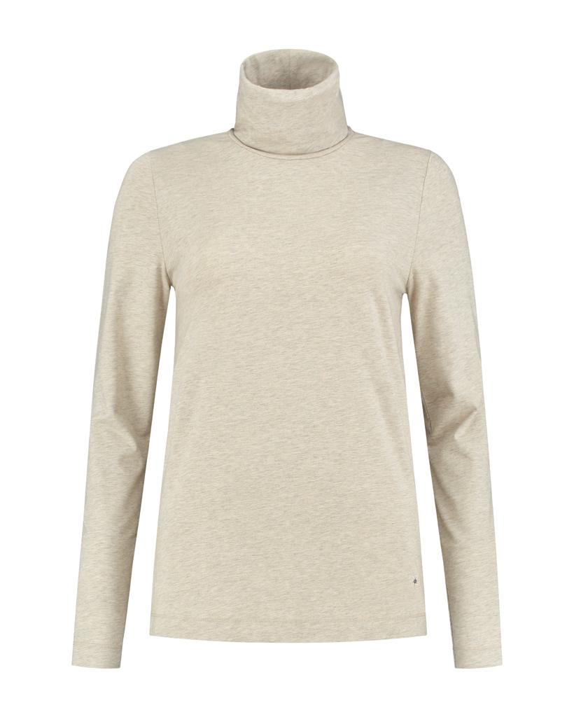 SYLVER Cotton Elastane Shirt Turtle-neck - Oatmeal