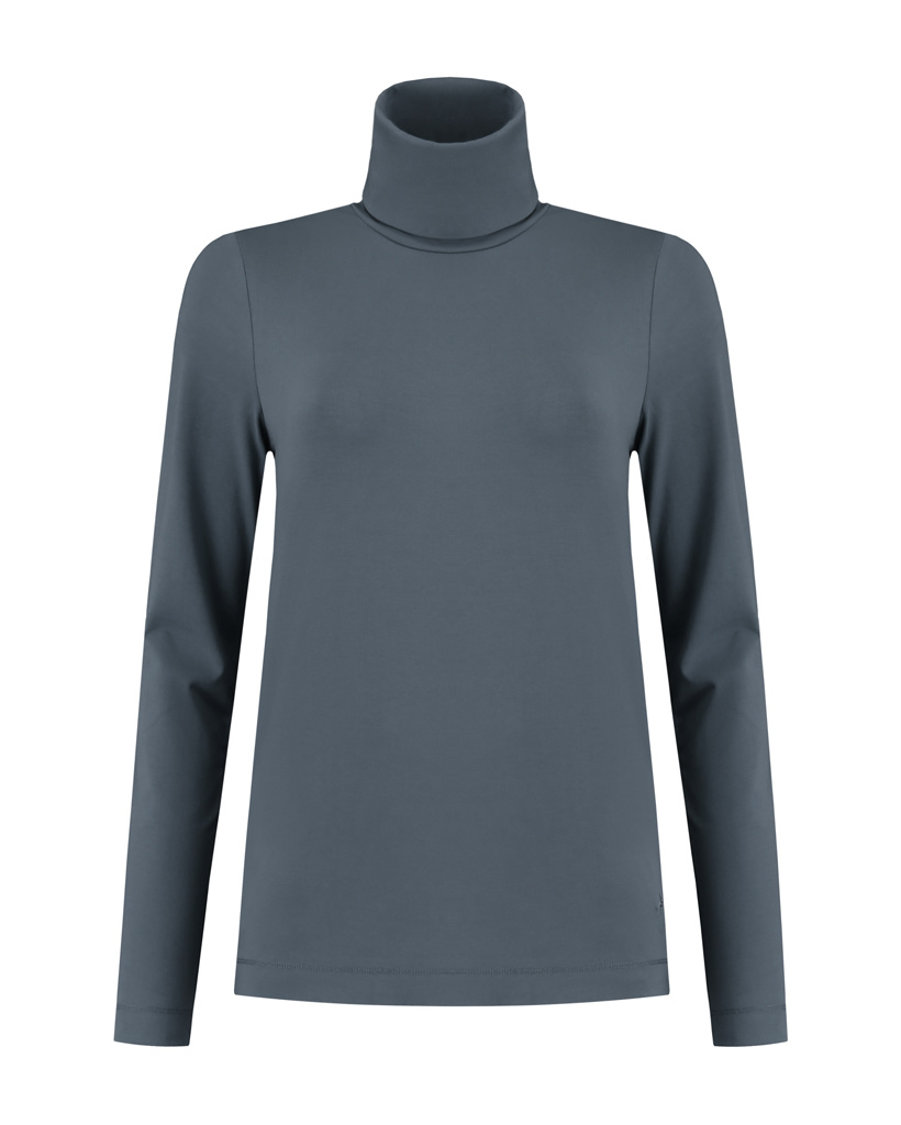 SYLVER Cotton Elastane Shirt Turtle-neck - Grey