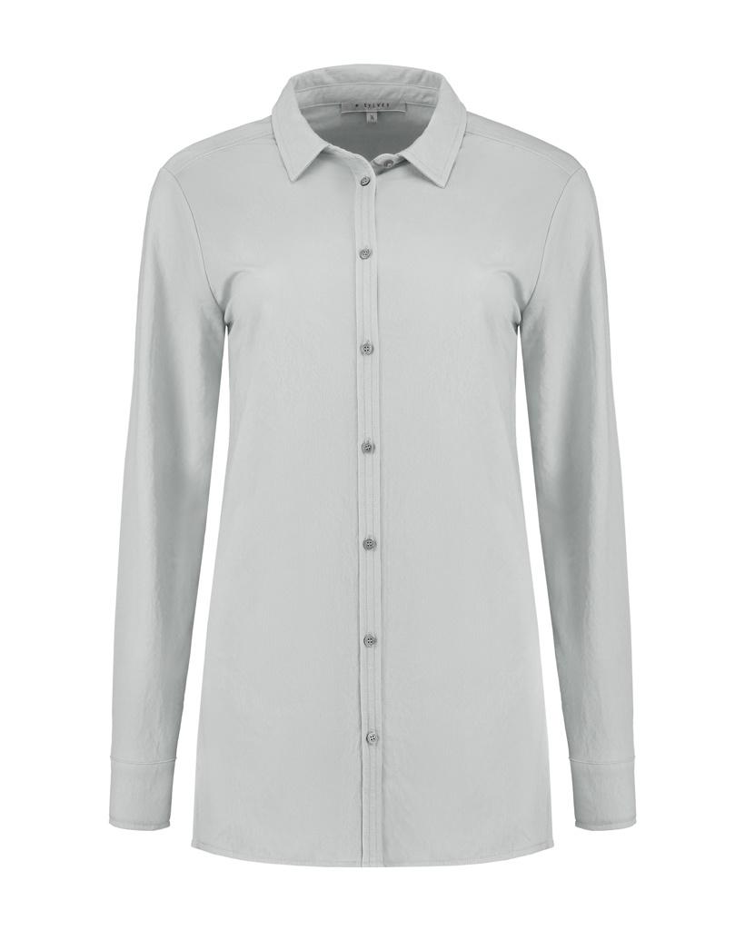 SYLVER Crêpe Stretch Blouse - Light Grey