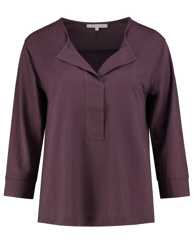 SYLVER Crêpe Stretch Shirt - Choco Wine