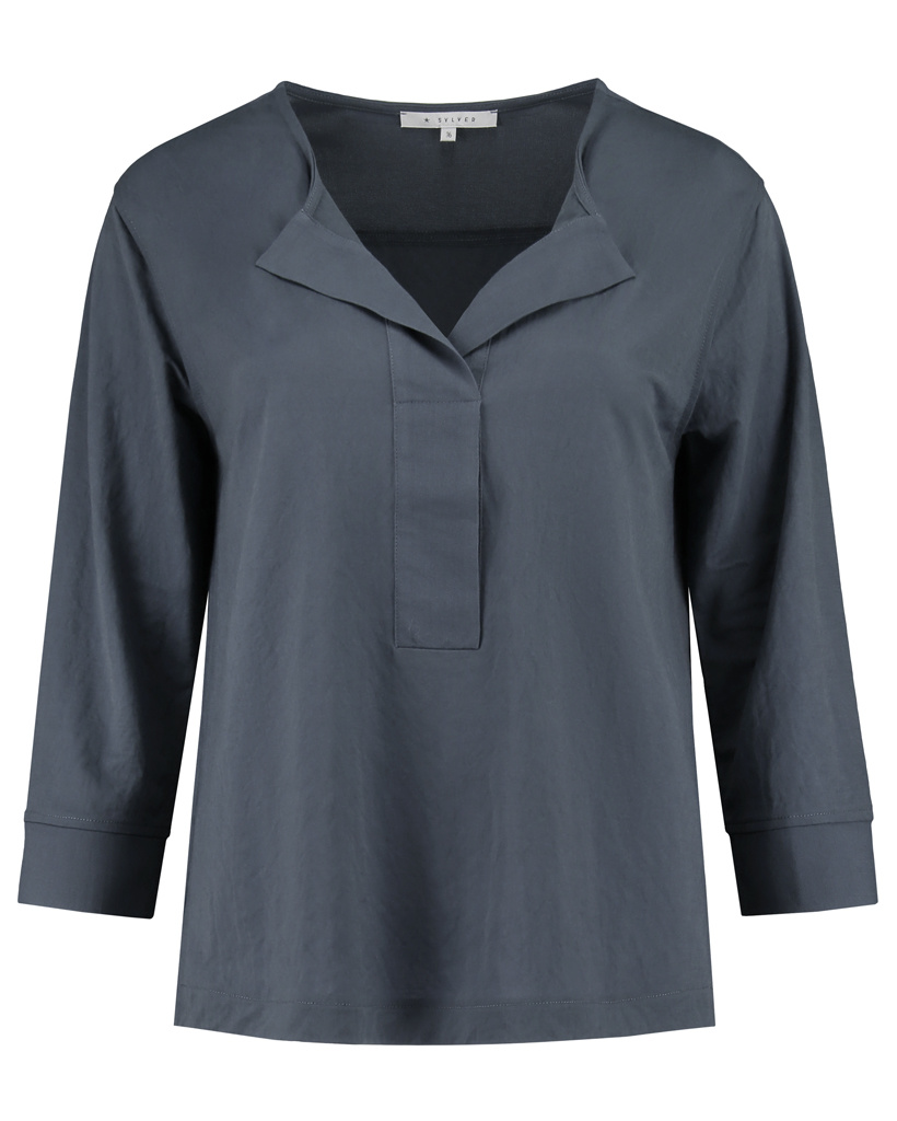 SYLVER Crêpe Stretch Shirt - Grey