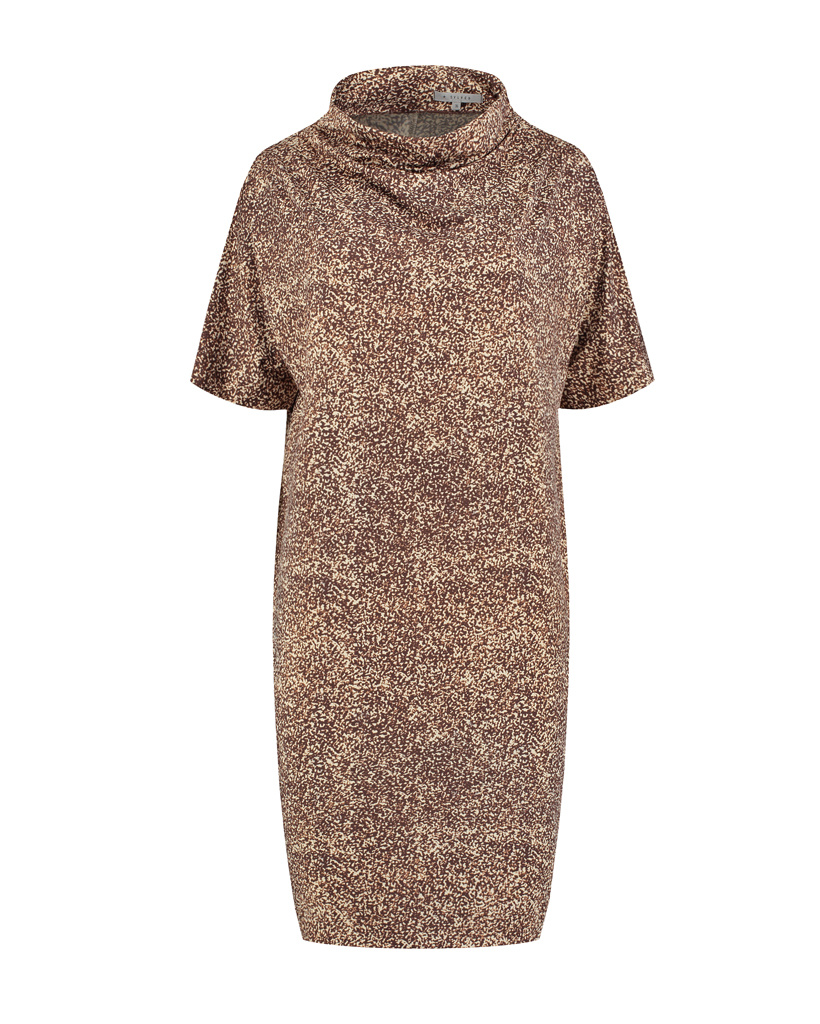 SYLVER Gravel Silky Jersey Dress Turtle-nec - Brown