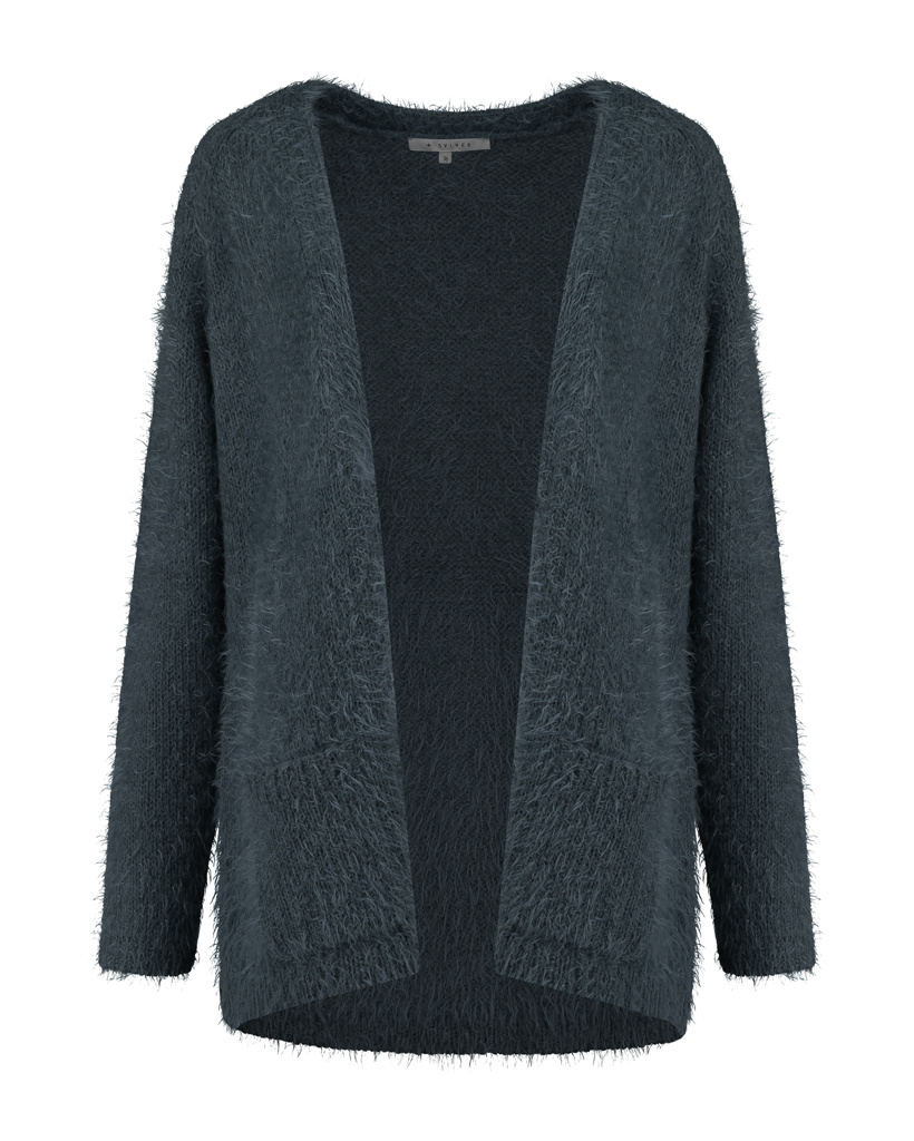 SYLVER Hairy Cardigan - Dark Blue