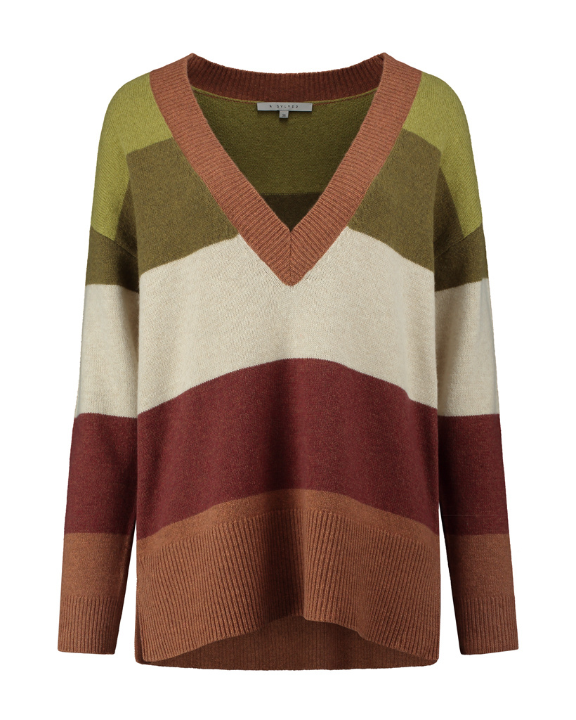 SYLVER Stripe Knit Pull V-neck - Burnt Orange