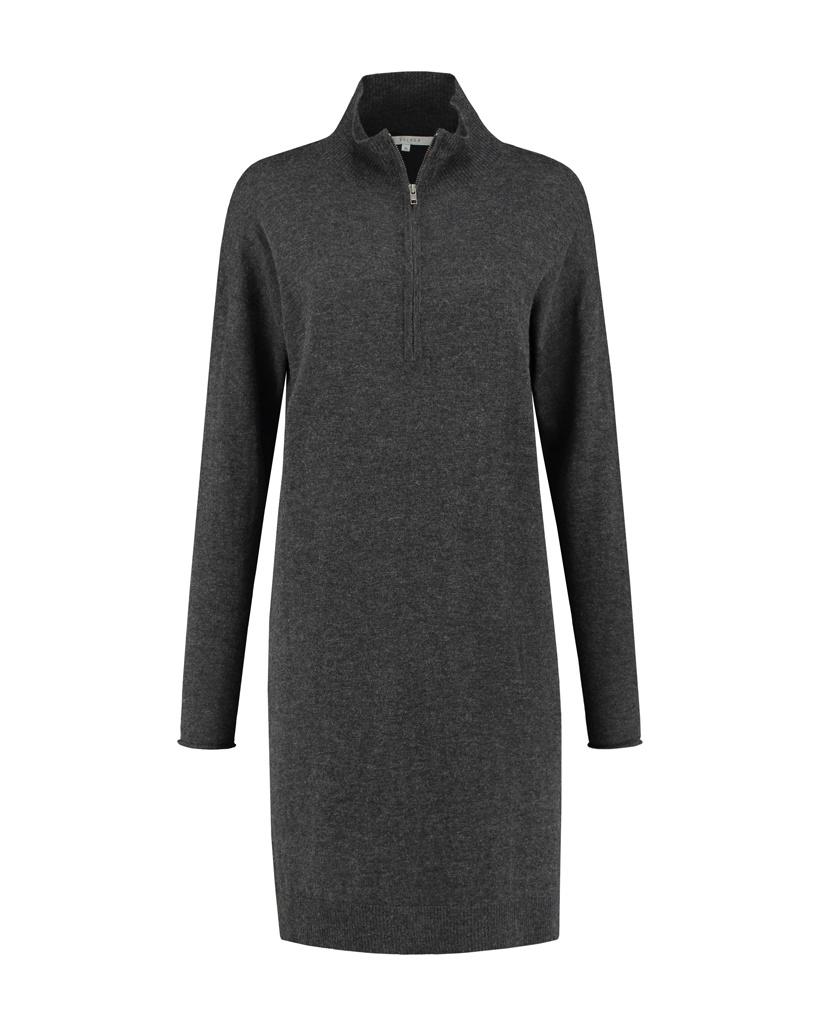 SYLVER Fine Knit Pull Zipper - Grey