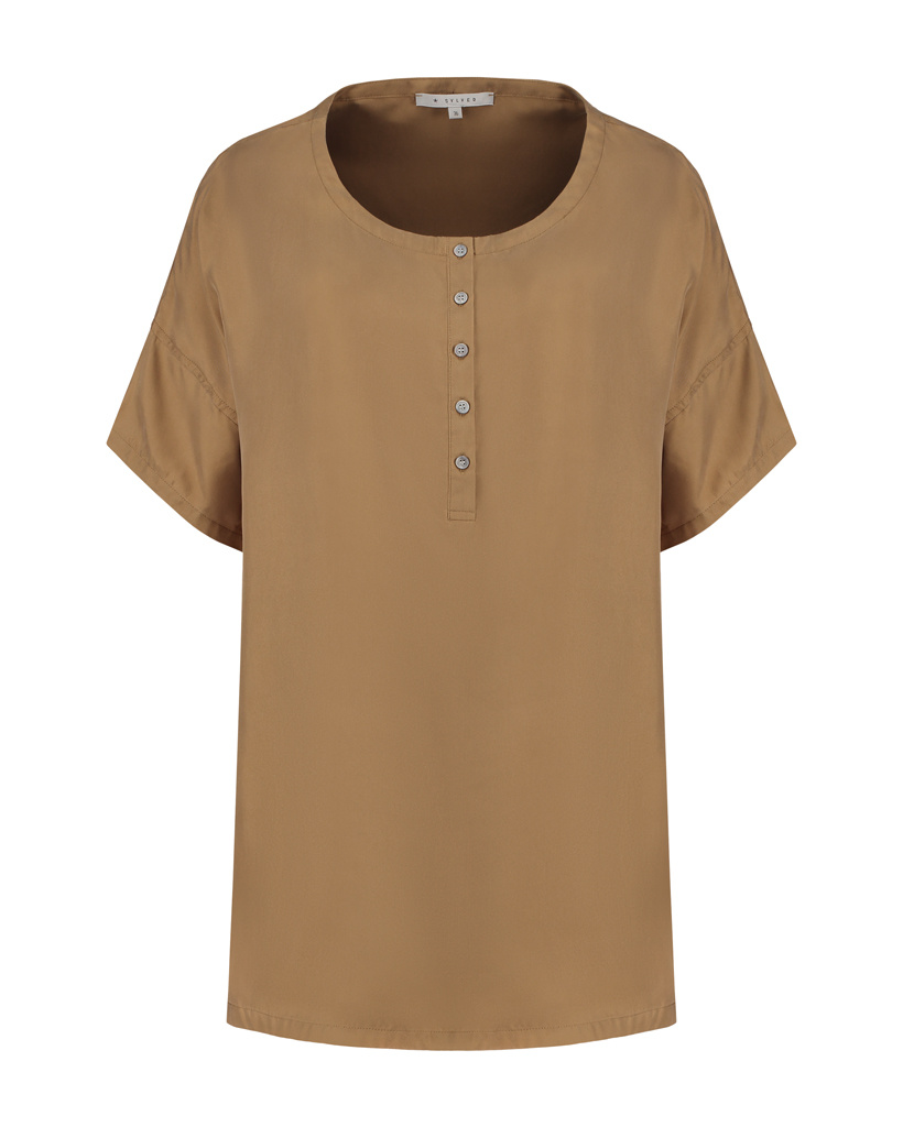 SYLVER Twill Silk Shirt - Caramel