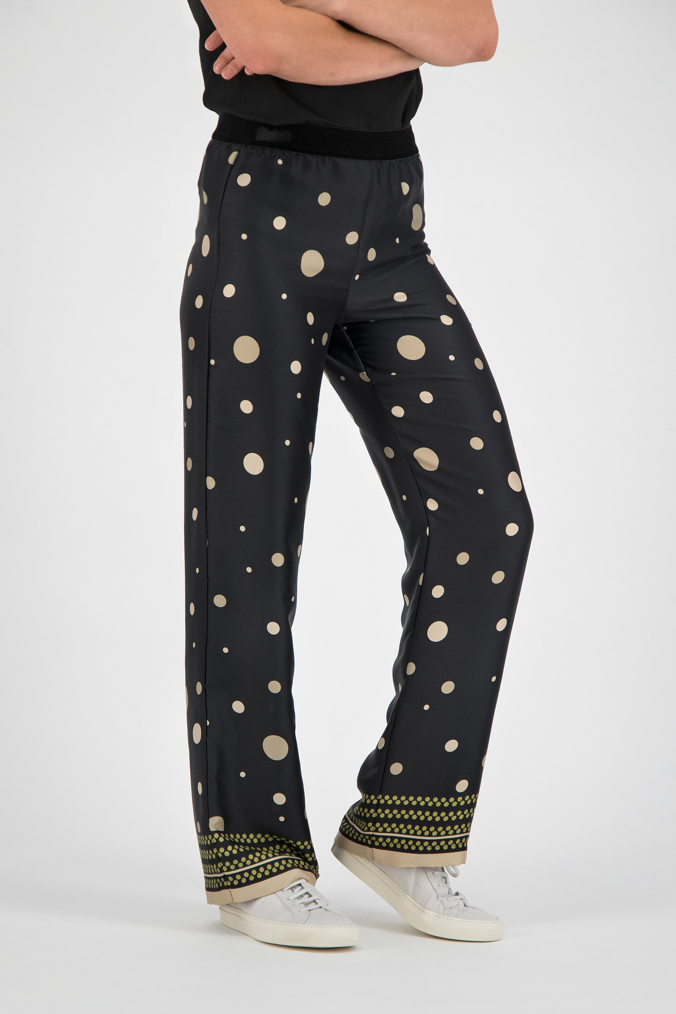 SYLVER Panel Dot Trousers - Moss