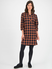 SYLVER Winter Check Dress - Burnt Orange