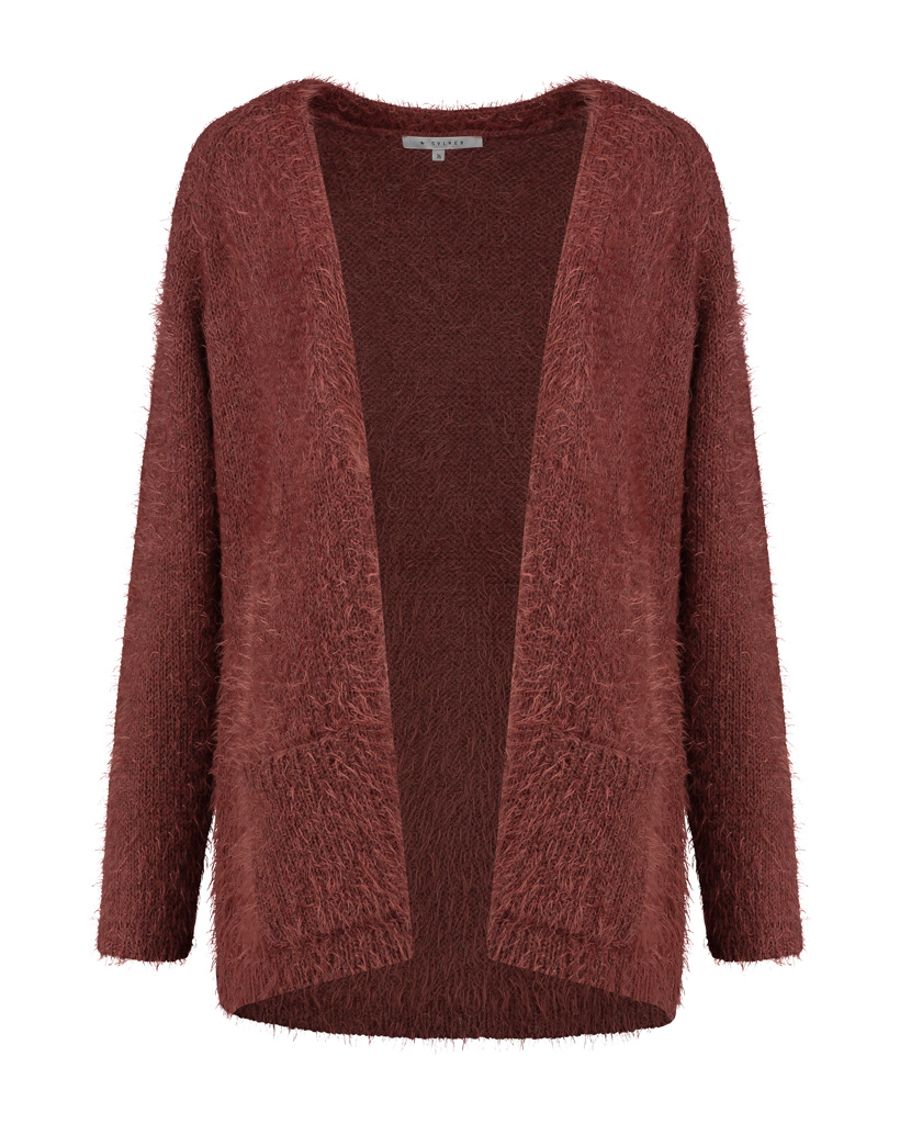 SYLVER Hairy Cardigan - Rust