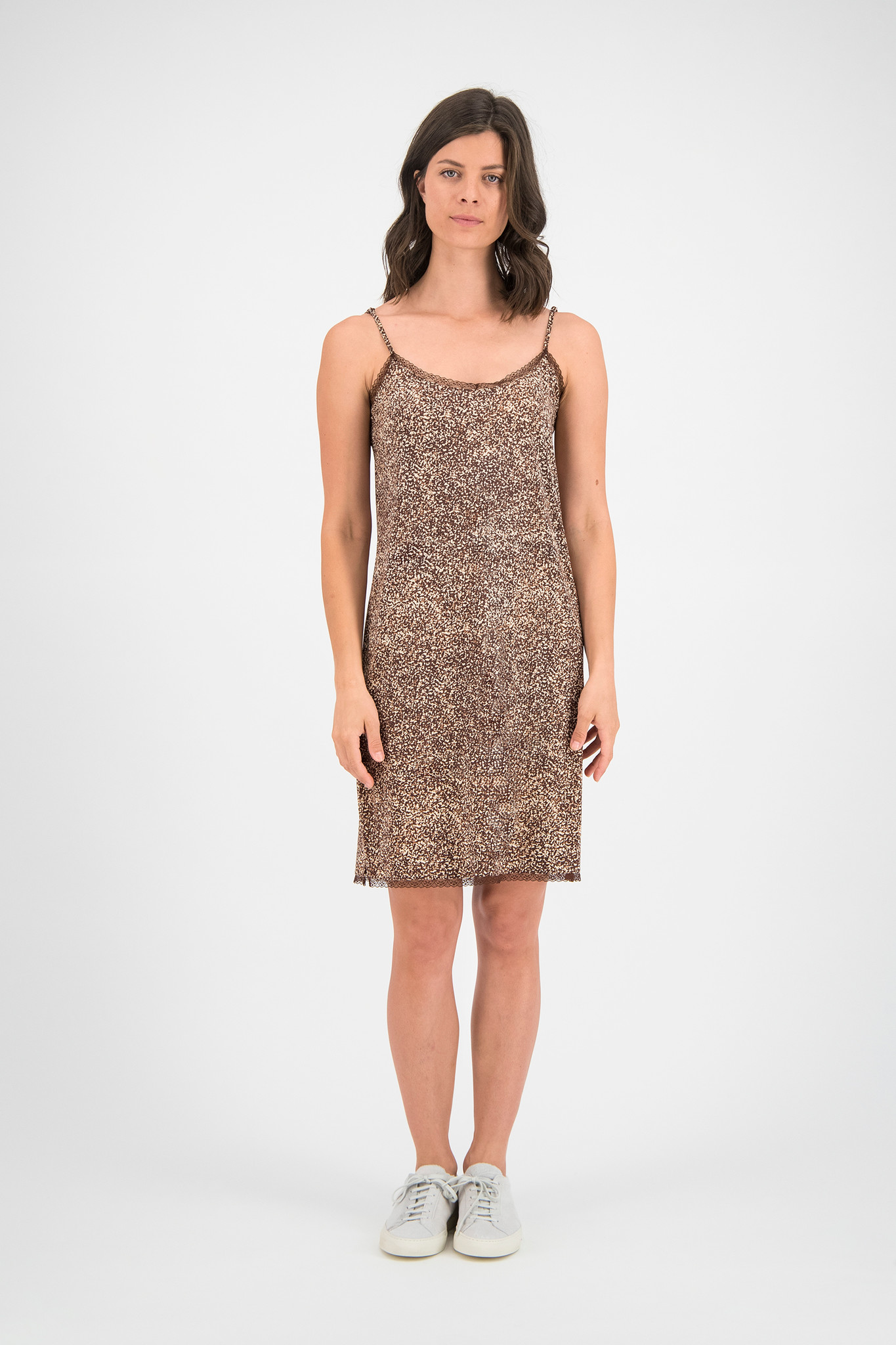 SYLVER Gravel Silky Jersey Slip Dress - Brown