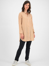 SYLVER Cotton Stripe Blouse Round-neck - Soft Orange