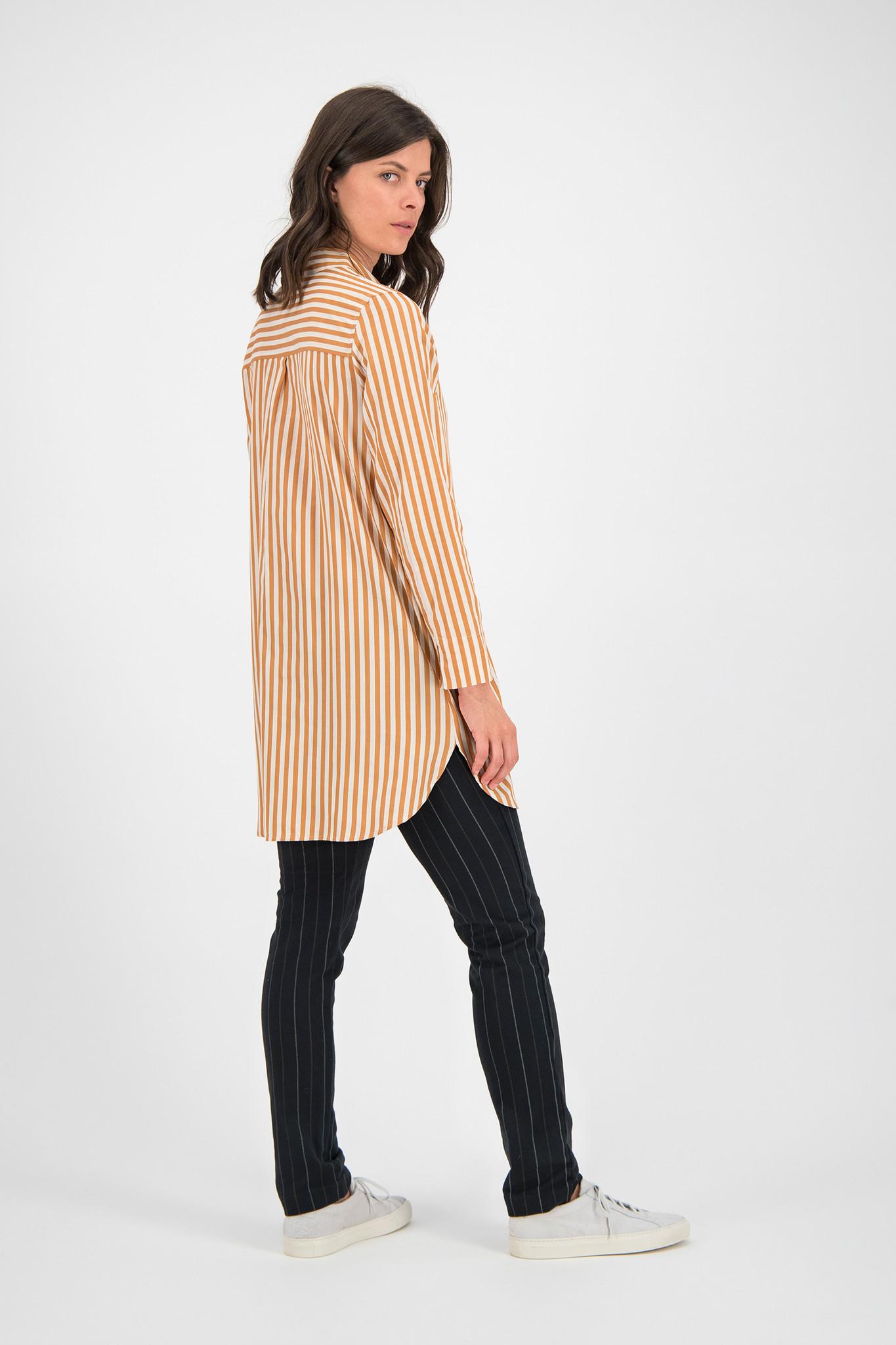 SYLVER Cotton Stripe Blouse Round-neck - Soft Orange