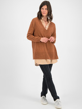 SYLVER Merino Mix Pull V-neck - Burnt Orange