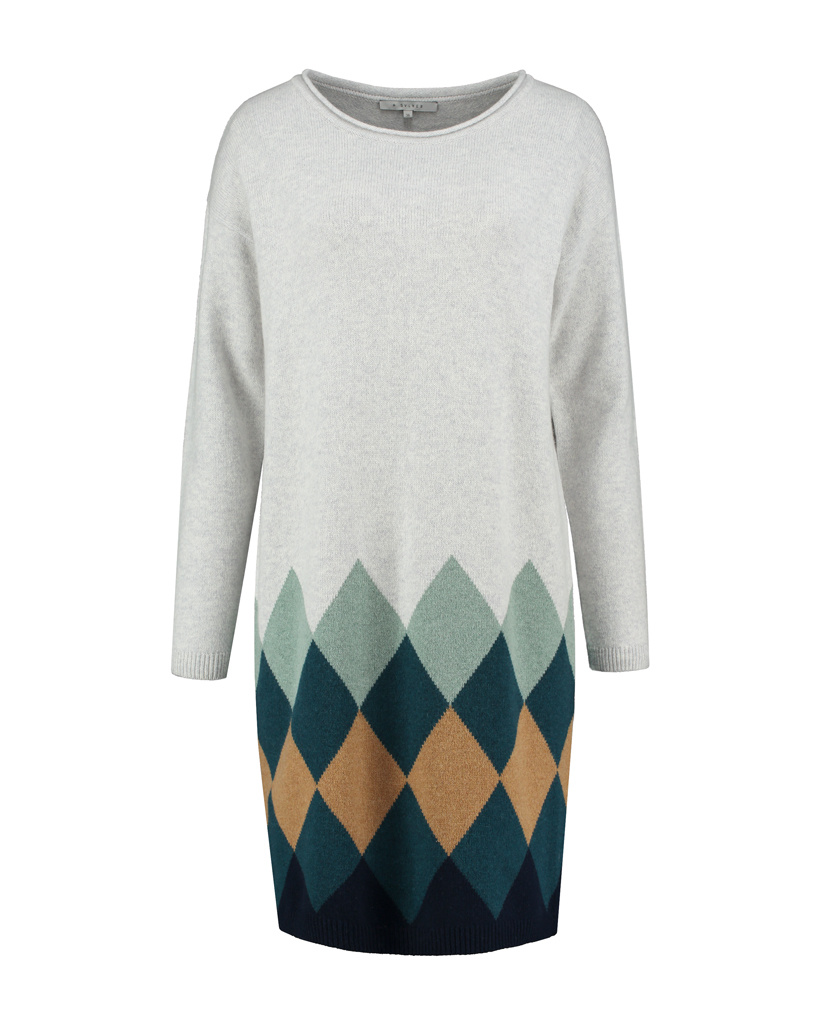 SYLVER Argyle Dress - Light Grey