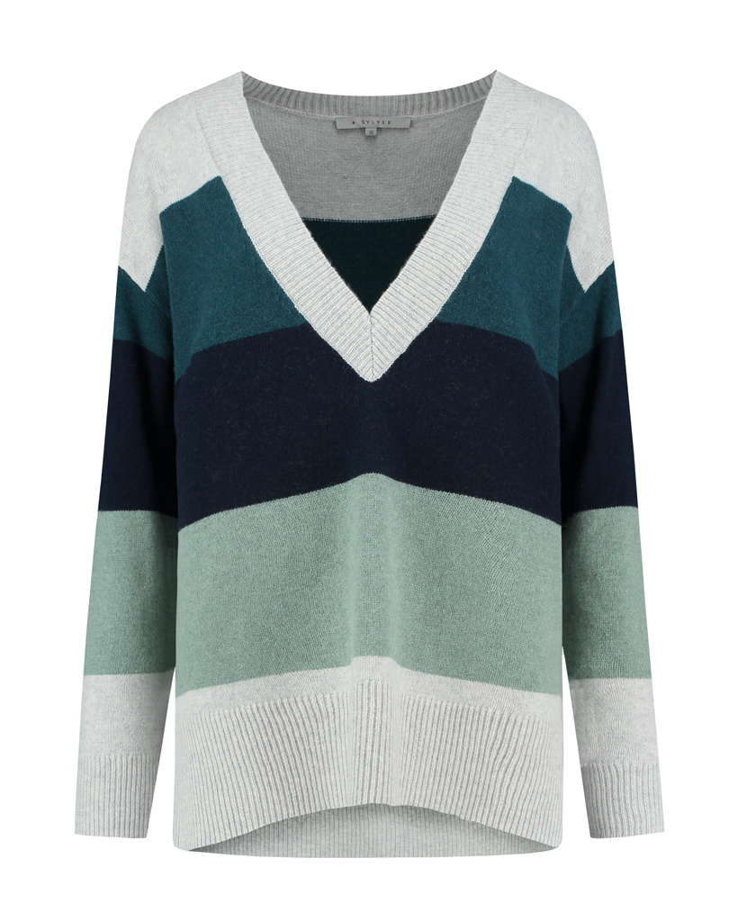 SYLVER Stripe Knit Pull V-neck - Light Grey