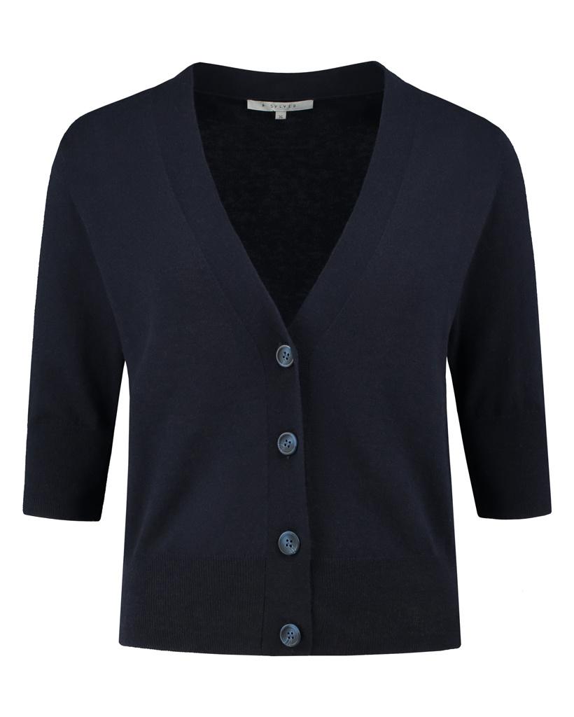 SYLVER Fine Knit Cardigan - Dark Blue