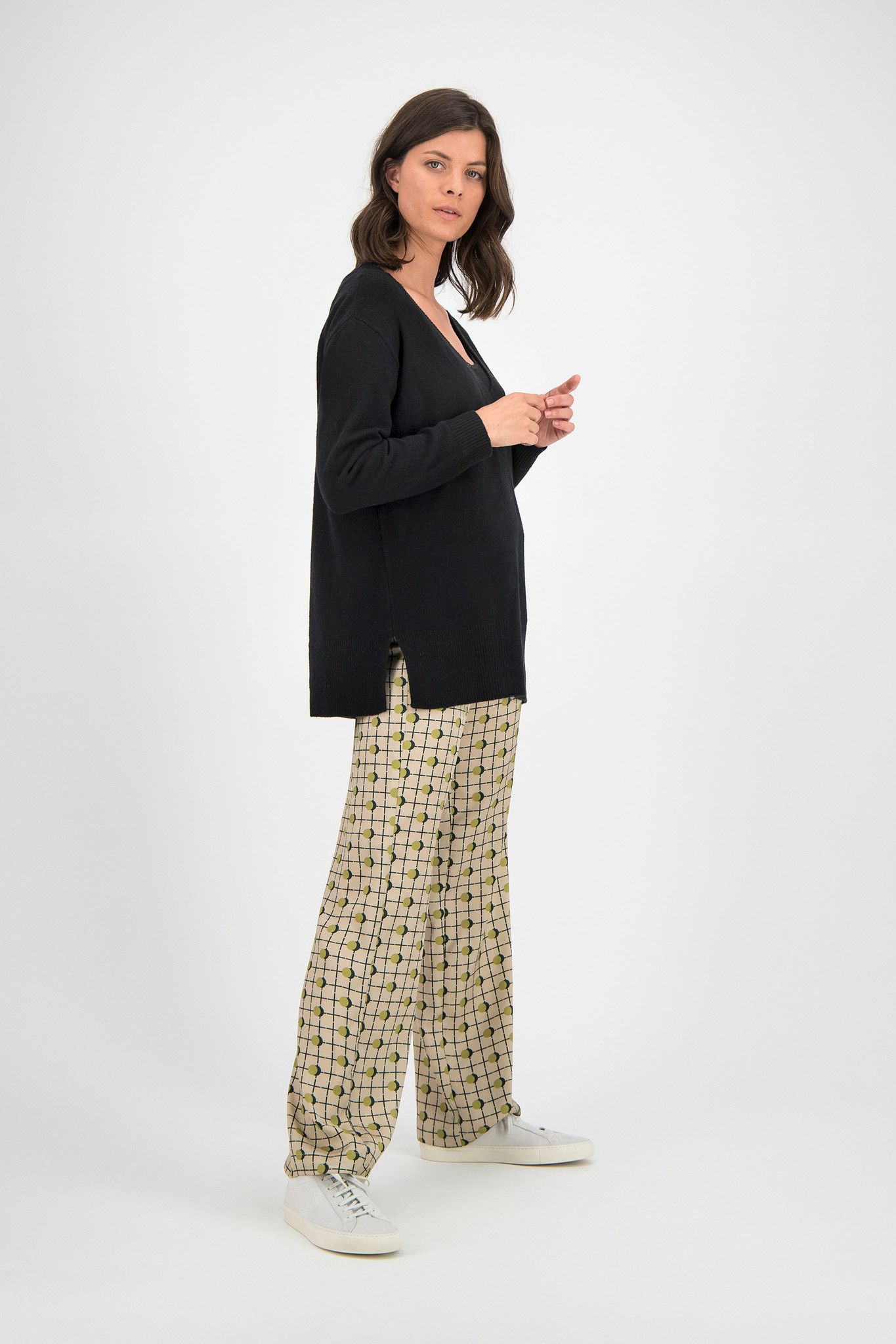 SYLVER Shadow Dot Trousers - Moss