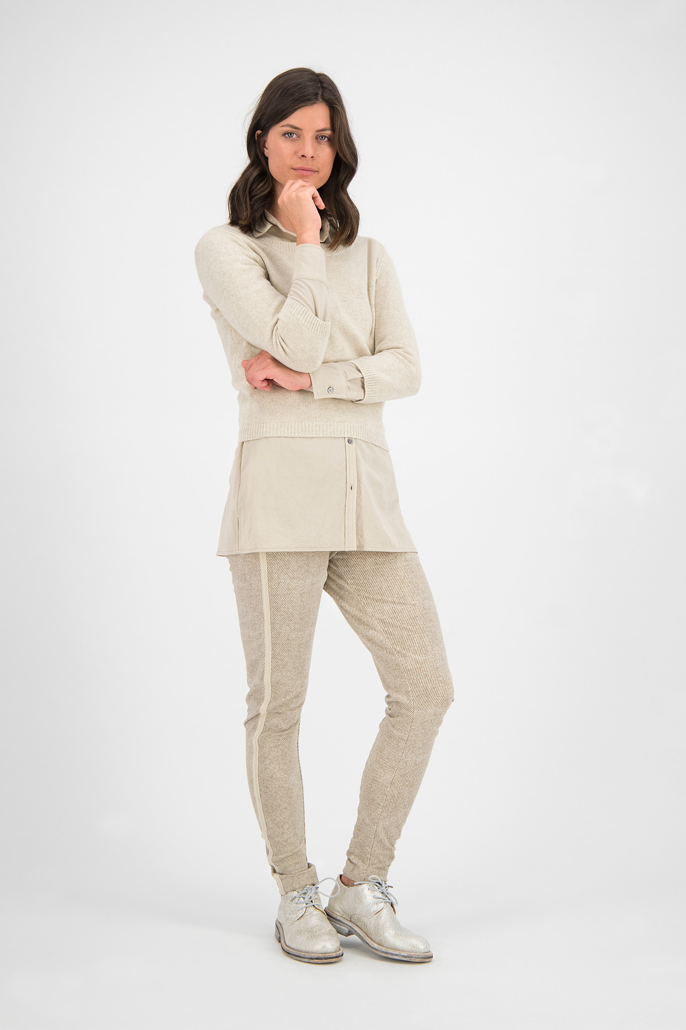 SYLVER Twill Sweat Trousers - Oatmeal