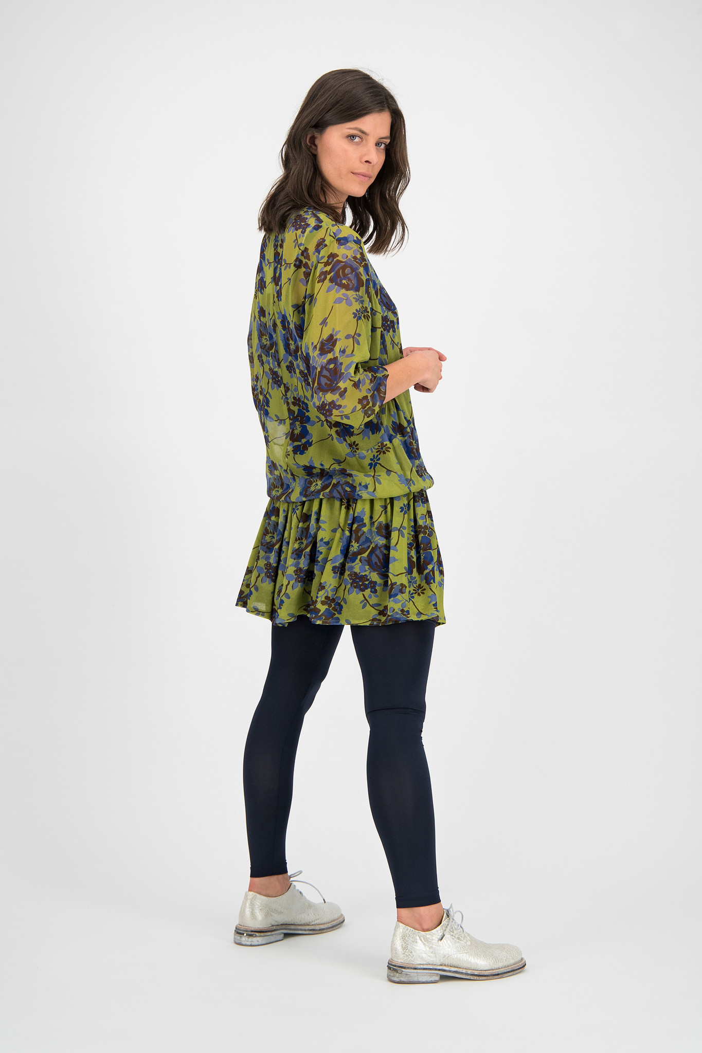 SYLVER Blue Flowers Dress - Moss
