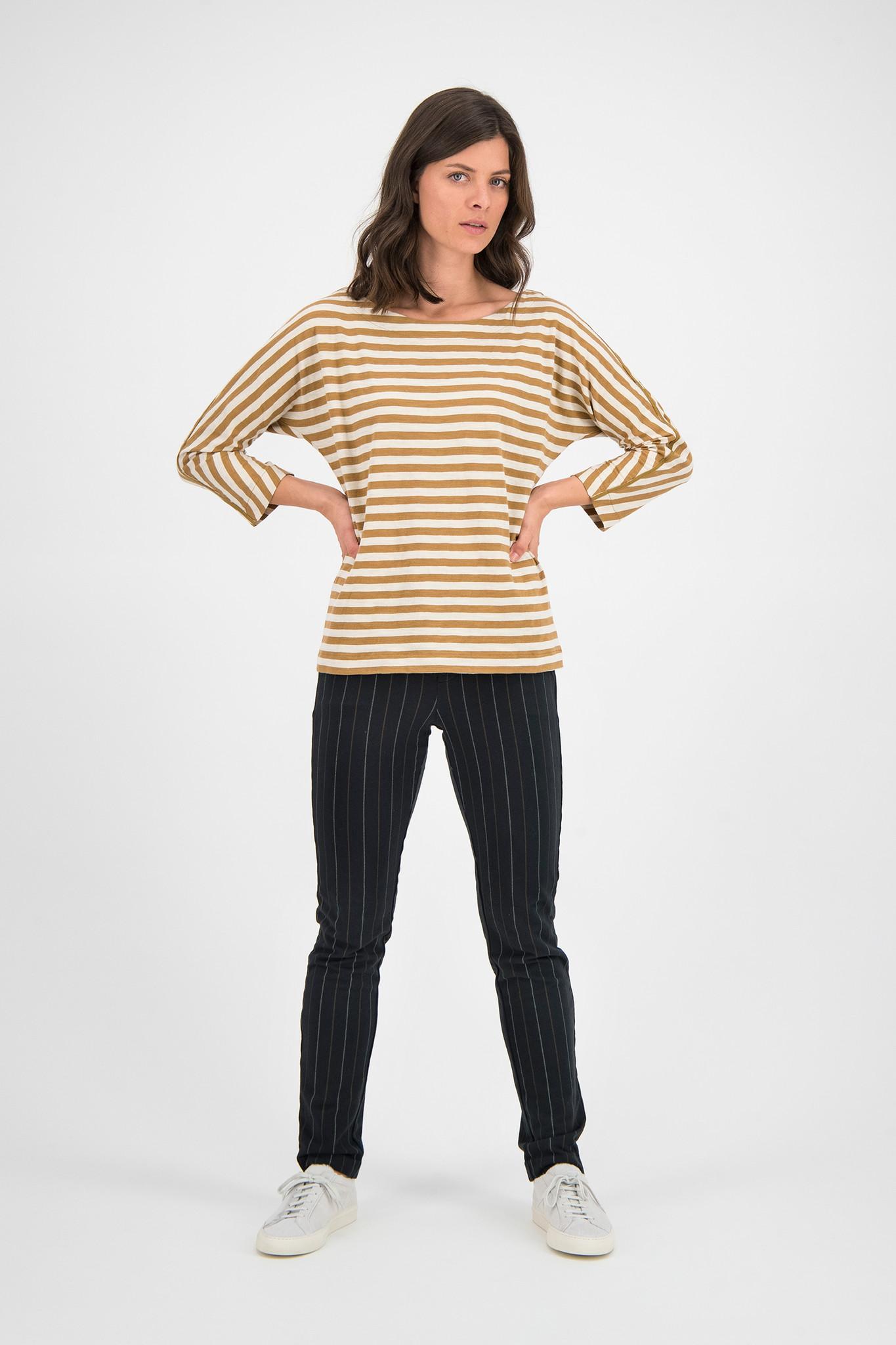 SYLVER Slub Sweat Jersey Shirt Boat-neck - Caramel