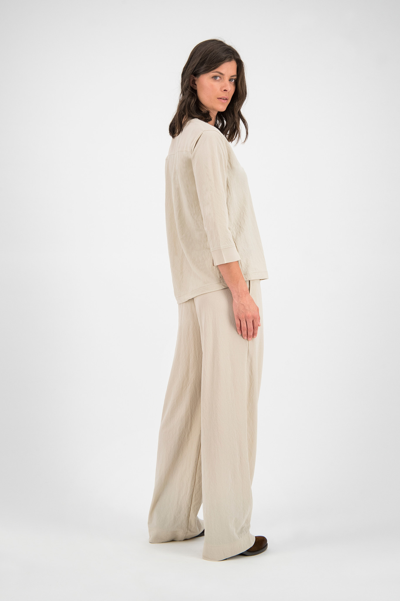 SYLVER Crêpe Stretch Trousers Flared - Oatmeal