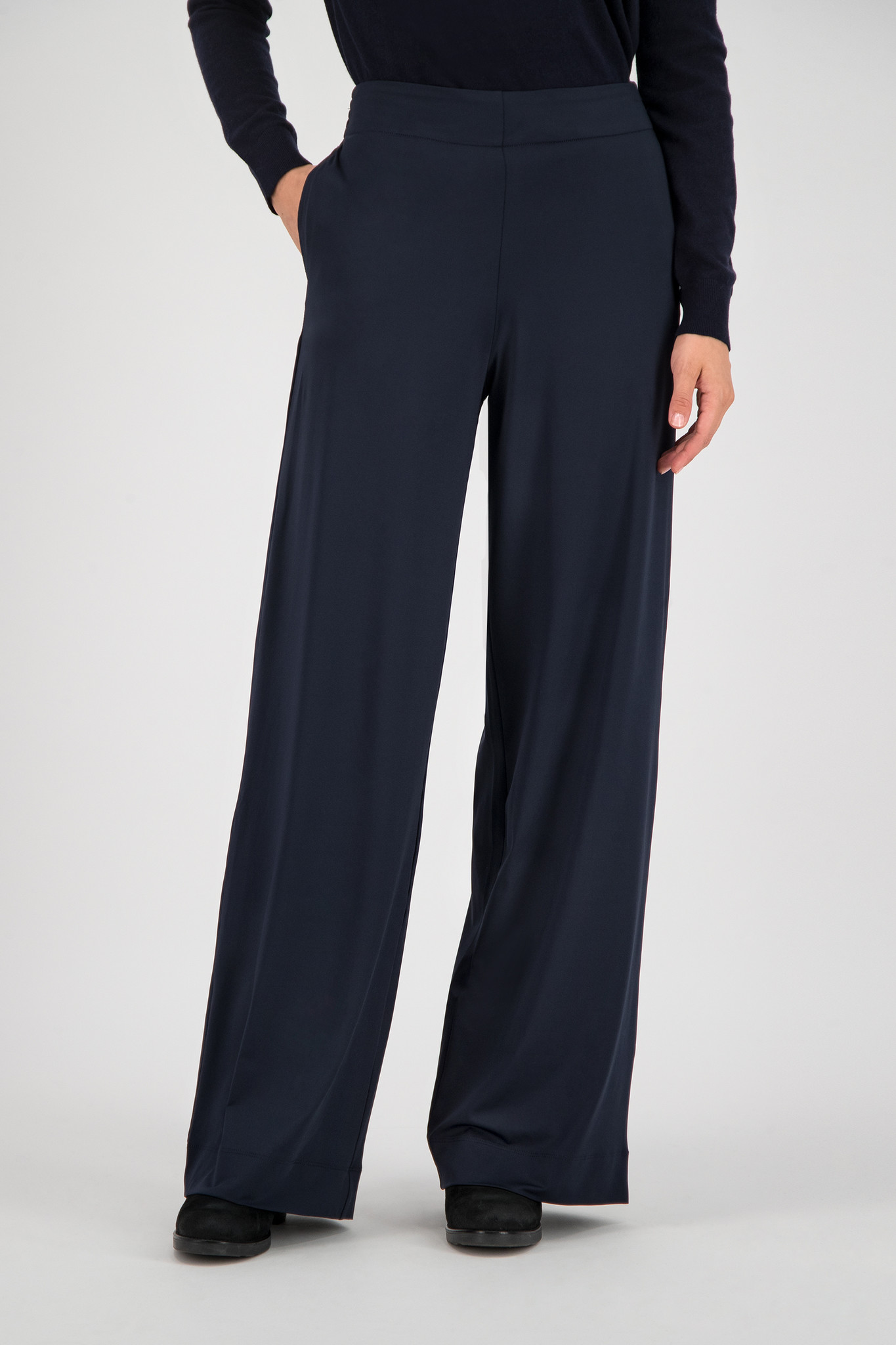SYLVER Silky Jersey Trousers Flared - Dark Blue