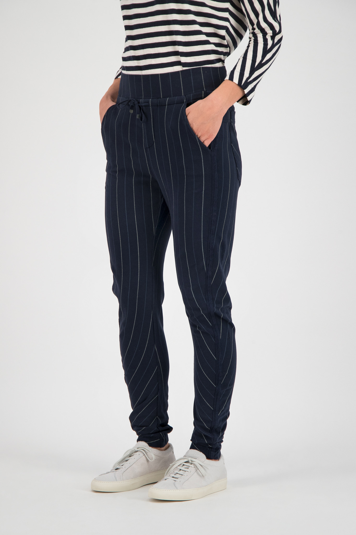SYLVER Stripe Sweat Trousers - Dark Blue