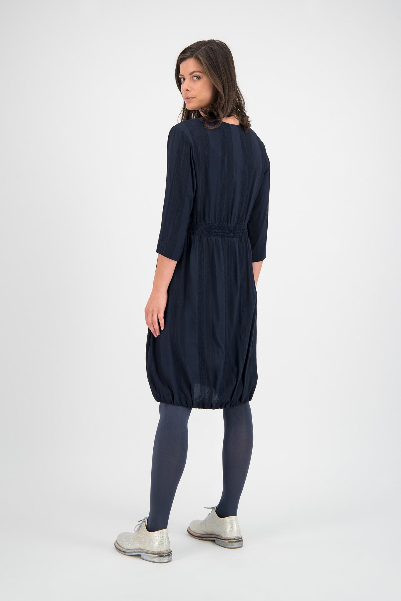 SYLVER Jacquard Stripe Dress Balloon - Dark Blue