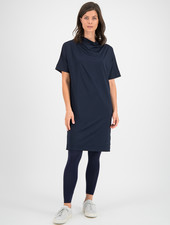 SYLVER Silky Jersey Dress Turtle-neck - Dark Blue