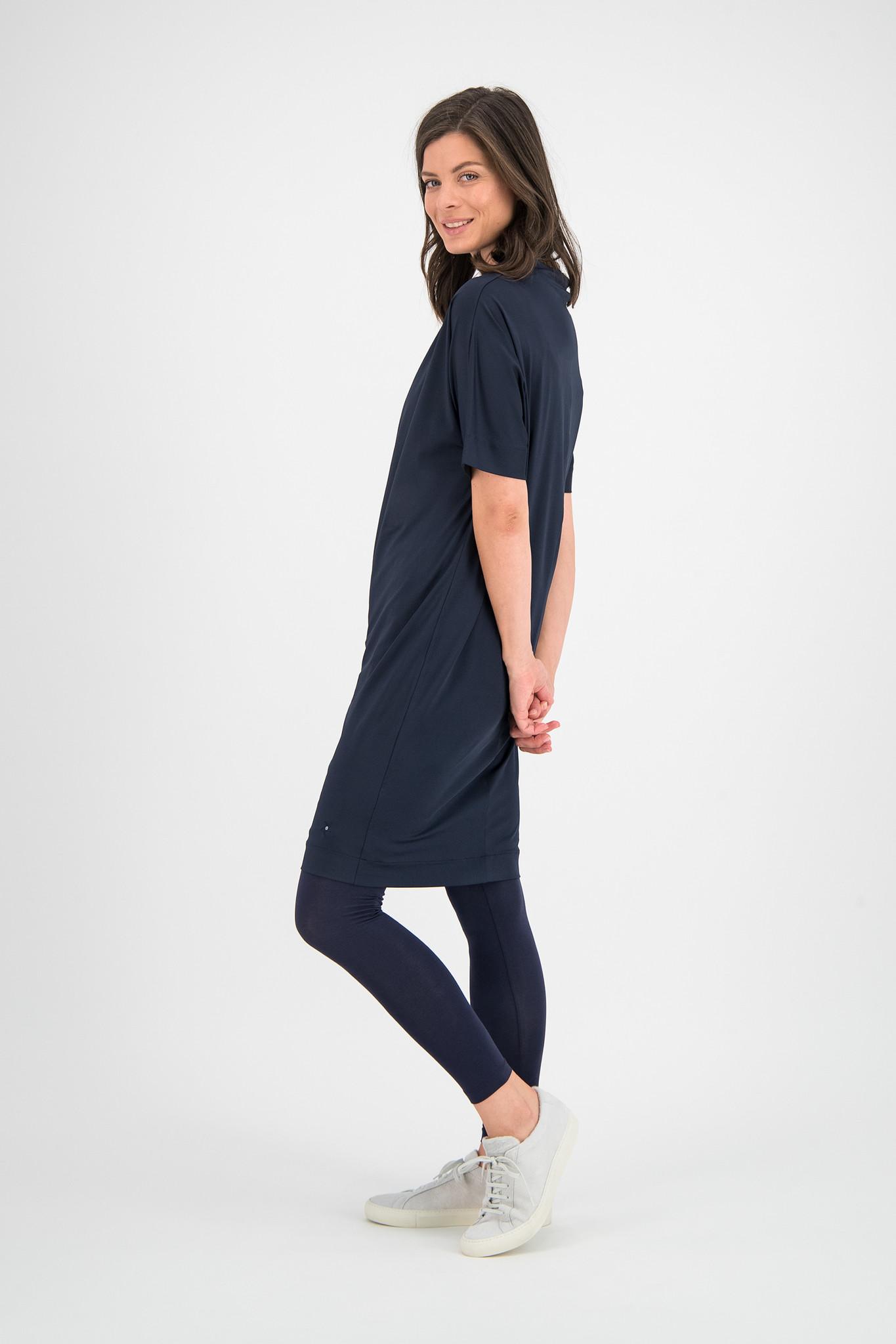 SYLVER Silky Jersey Dress Turtle-neck - Dark Blue